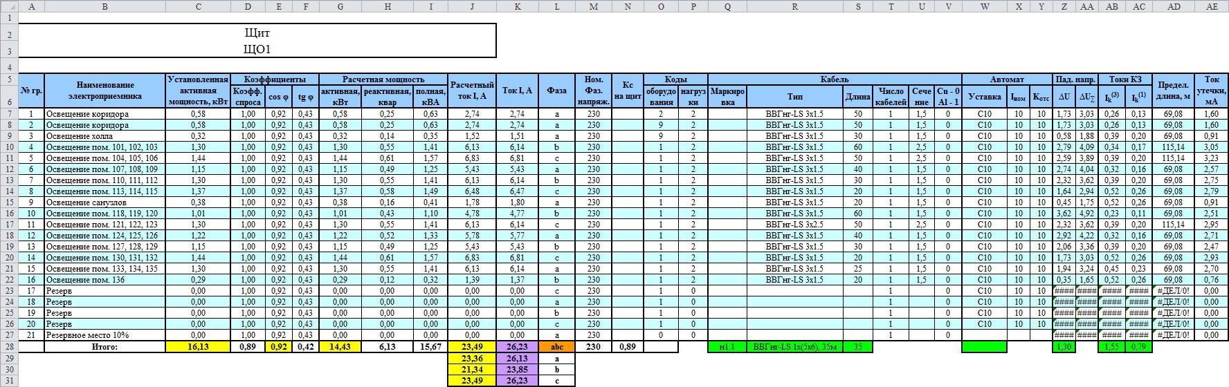 Групповая таблица в расчетной таблице DDECAD