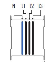 Конструкция трехфазного шинопровода 3L+N+(PE)