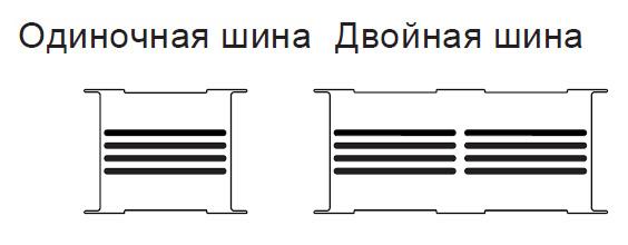 Конструкция шинопровода с двойным пакетом шинКонструкция шинопровода с двойным пакетом шин